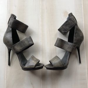 Report Signature Velcro Leather Stiletto Heels